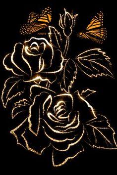 Flowers, glitter, butterflies - 320x480