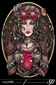 Tree Woman Tattoo T-shirt by Sam-Phillips-NZ