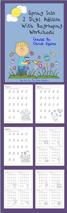 Spring Into 2 Digit Addition With Regrouping Worksheets This is a set of 20 Worksheets designed to give your students additional practice adding 2 digit numbers together using Regrouping. I have included answer sheets for all the worksheets. It can be used to reinforce the new First Grade Common Core Standard: Understand that in adding two-digit numbers, one adds tens and tens, ones and ones; and sometimes it is necessary to compose a ten. $
