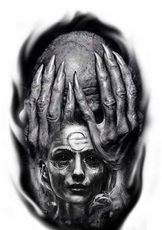 Badass Drawings, Demon Drawings, Tattoo Sketches, Tattoo Drawings, Art Sketches, Dark Art Tattoo, Tattoo Flash Art, Arte Horror, Horror Art