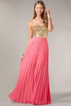 2014 Sweetheart Embellished Bodice With Gold Lace A Line Floor Length Shirred Chiffon Prom Dress USD 109.99 LDPK4Q3ZJG - LovingDresses.com