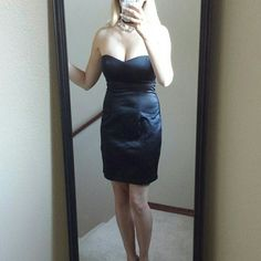 """Black strapless dress Like new! A satiny polyester / cotton /spandex. 15"""" bust measurement.  13.5"""" waist measurement. 27"""" in length. Forever 21 Dresses Mini"""