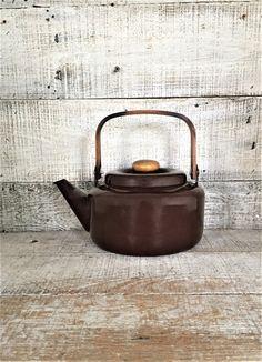 Teapot Enamel Teapot Mid Century Metal Teapot with Wood Handle Tea Kettle Retro Teapot Mid Century Kitchen Decor Brown Teapot by TheDustyOldShack on Etsy