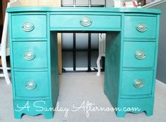 Desk makeover at A Sunday Afternoon - love the color!