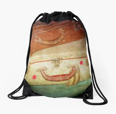 'going places' Drawstring Bag by Clare Colins Backpack Bags, Drawstring Backpack, Old Suitcases, Sell Your Art, Woven Fabric, Backpacks, Artists, Classic