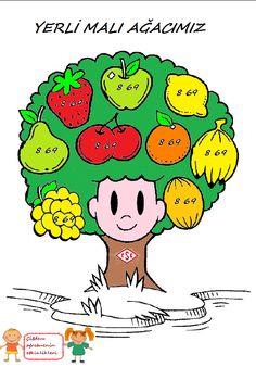 """Yerli Malı Ağacımız """"Kalıplı"""" - Okul Öncesi Etkinlik Kaynağınız Pre School, Malta, Activities For Kids, Crafts, Medusa, Fruit, Drinks, Drawings, Jellyfish"""