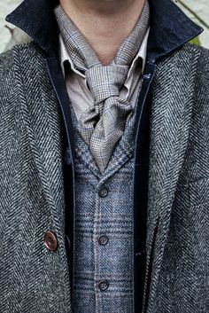 Walker Slater Details Gallery - WalkerSlater.com Harris Tweed George overcoat in grey wide herringbone over the Archie denim jacket