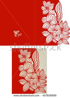 Layout invitation card with floral pattern in red color for weddings and other celebrations. Suitable for laser cutting. Open envelope.