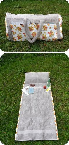 DIY ~ How to make a tote bag that turns into a beach towel (with a pillow in it!).: