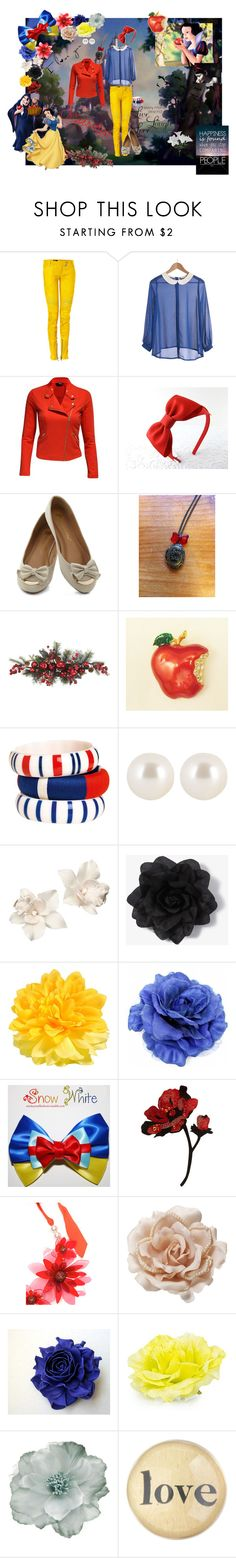 """""""Snow White"""" by in-love-with-the-world ❤ liked on Polyvore featuring Disney, Balmain, Jane Norman, Nearly Natural, By Malene Birger, Henri Bendel, Accessorize, Forever 21, Pieces and Fantasy Jewelry Box"""