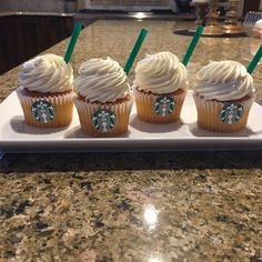 Easy DIY Starbucks Frappucino Cupcakes! Bake any recipe for a vanilla, chocolate or strawberry cupcake, and add vanilla frosting to the top. After making the cupcake, add green straws to the frosting (just like whipped cream in any frap) and cut and paste the Starbucks logo to the front! Super cute cupcakes for any girl's bday party!
