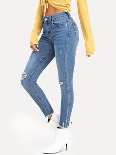 8f84b6e465f Raw Hem Ripped Jeans -SheIn(Sheinside) Ripped Jeans