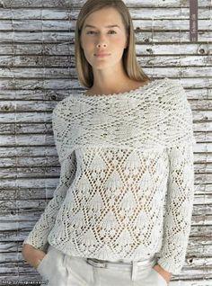 Knit lace sweater no pattern