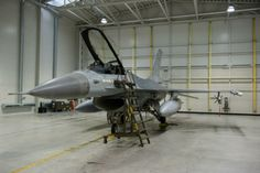 Belgian Air Component F-16 Fighting Falcon in hangar at  Siauliai, northern Lithuania, during Operation Baltic Air Policing; 3 September 2013 to 4 January 2014.