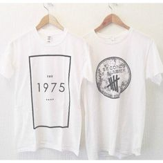 Shirt: tumblr the 1975 music festival band t- t- grunge faishon soft... ❤ liked on Polyvore featuring tops, t-shirts, shirts, white top, punk shirts, tee-shirt, punk rock t shirts and white summer tops
