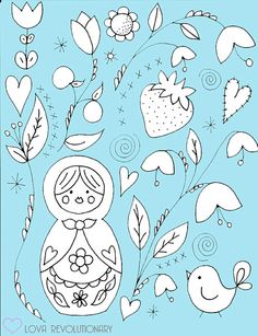 Nesting Doll Embroidery Pattern by lovahandmade on Etsy