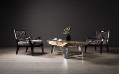 Pierre Cronje Coffee Table and nguni hide chairs