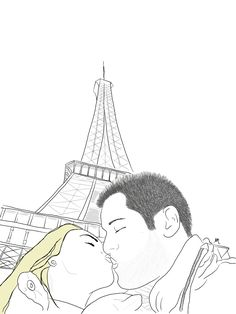 paris is for lovers couple illustration