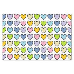 #pink - #Black Outlined Pastel Rainbow Hearts Tissue Paper