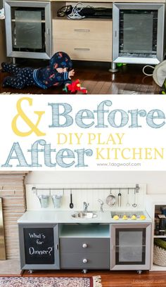 Before & After of our diy play kitchen. I'm also sharing tips and tricks to make this project functional, lightweight and inexpensive! via www.1dogwoof.com