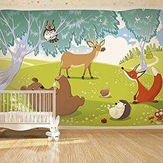 Vlies Fototapete 200x140 cm ! Top - Tapete - Wandbilder XXL - Wandbild - Bild - Fototapeten - Tapeten - Wandtapete - Wand - für Kindertapete Kinderzimmer Kinder Wald Tiere e-A-0031-a-a
