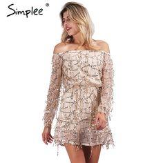 >>>Smart Deals forSimplee Apparel Sexy off shoulder sequin tassel summer dress 2016 beach party short dress Women backless vintage dress vestidos-in Dresses from Women's Clothing