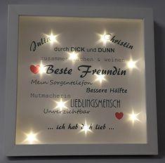 Traumhaft schönes beleuchtetes LED – Bild - eine super Geschenkidee für die beste Freundin ...eine bleibende Erinnerung - ein einzigartiger beleuchteder Bilderrahmen der auch ohne Beleuchtung...