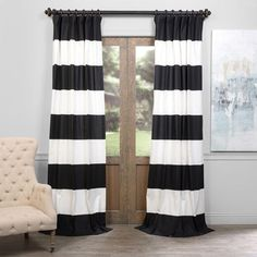 Black And Off White 50 X 96 Inch Horizontal Stripe Curtian Half Price Drapes Panels