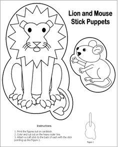 Lion and mouse stick puppet