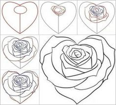 How to Draw a Rose from a Heart 2