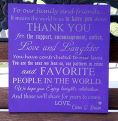Wedding Guest Thank You sign - Kelly Belly Boo-tique  - 2
