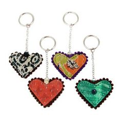 #Recycled Kantha Heart Keychains with Picot Trim. #Handmade #India #fairtrade
