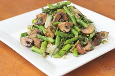 Marinated Mushrooms and Asparagus Salad - Gluten Free  Vegan -- This is a great side dish or will be perfect heated up under grilled anything! It's a damn near foolproof pairing for meat, fish or tofu