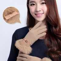 2014 New listing Female Korean winter warm wool gloves rabbit bow  cashmere gloves Double thick warm points finger gloves