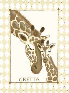 Giraffe Family in Cream Canvas Wall Art by Sherri Blum- As seen on The Cake Boss, A Baby Special