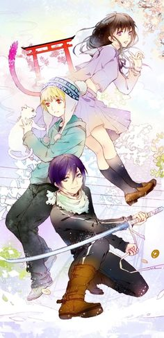 Noragami Wall Scroll Poster Fabric Painting For Anime yato & Iki Hiyori & Yukine 045 Noragami Bishamon, Anime Noragami, Manga Anime, Yato And Hiyori, Manga Art, I Love Anime, All Anime, Awesome Anime, Me Me Me Anime