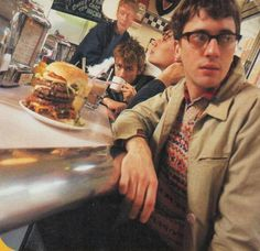 "Blur; Damon's giving Graham the look like, ""You gonna eat ALL of that, mate?"""