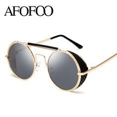 AFOFOO Vintage Steampunk Sunglasses Fashion Round Glasses Brand Designer Women Coating Mirror Sun Glasses Retro Men Shades UV400