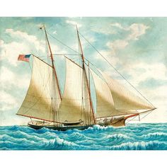 Antique Sailboat Retro Vintage Sailing Ship Poster Print Canvas Wall Art Decor