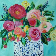 """Colorful Still Life, Flowers in Blue and White Ginger Jar, GICLEE PRINT,  """"Jemma"""" by Carolyn Shultz by CarolynShultzFineArt on Etsy https://www.etsy.com/listing/195683512/colorful-still-life-flowers-in-blue-and"""