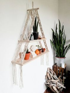 Macrame shelf is uniqe product with the original design from Polka_knot. It is made to carry lighter object or flowers, it can also carry books, it mostly depends on the rawlplug and the screw. Please insert a rawlplug with minimum 15 kg of load. The shelf hangs from the ceiling and against a wall. It can be used in every room of your home as a shelf for flowers or a shelf for your childerns toys... *** Find out more at the image link.