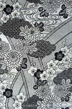 Japanese Yukata fabric in black and white