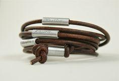 Für Papa: Lederarmband mit Gravur der Liebsten / cute gift idea für dads, leather bracelet with name of family members by Tanja Braun via DaWanda.com