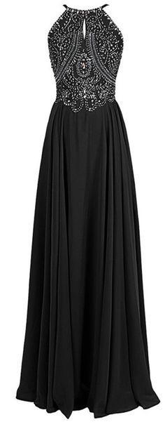 shedress.storenvy.com Fashion A-line Halter Straps Chiffon Long Prom Dress With Beaded, dress prom, beading evening dresses, black prom dress