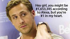 Ryan Gosling Rank beats Alexa Rank every time. Every time. Ryan Gosling, Quality Logo Products, Hey Girl, Otp, Beats, Have Fun, My Life, Thing 1, Marketing