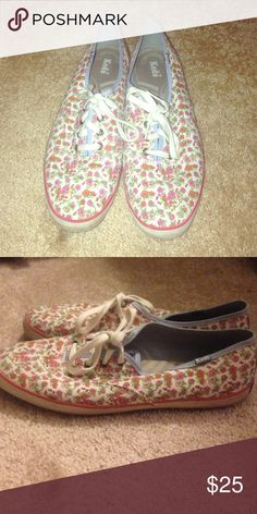 Keds Tennis Shoes Perfect floral slip on shoe. Worn very few times! Keds Shoes Sneakers