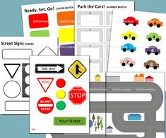 This fun instant download, printable toddler car activity pack will keep your child entertained while learning! Rev up your engines and drive down the road, park your cars in the number garage, match the car colors and shapes of street signs. Even better, it is quick and easy to put together and includes the following 8 pages (without watermark logos shown in preview).  1. Color Match + Cars 2. Parking Garage Number Match + Cars 3. (2) Pages driveable roads - matchbox cars fit! 4. Street…