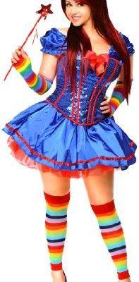 Daisy Corsets Women's 6 Piece Sexy Rainbow Girl Costume