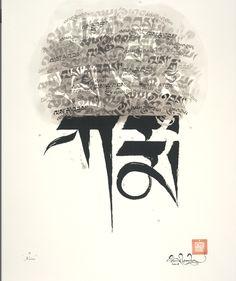 "Tashi Mannox. The bottom says ""karma"" and piled above karma it says ""cause and effect"""