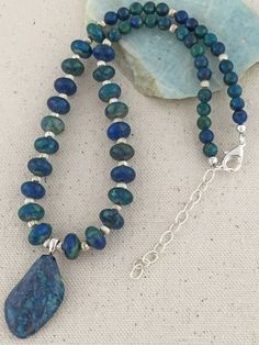 Blue and Green Chrysocolla Pendant Necklace on Beaded Strand of Chrysocolla and Silver Beads
